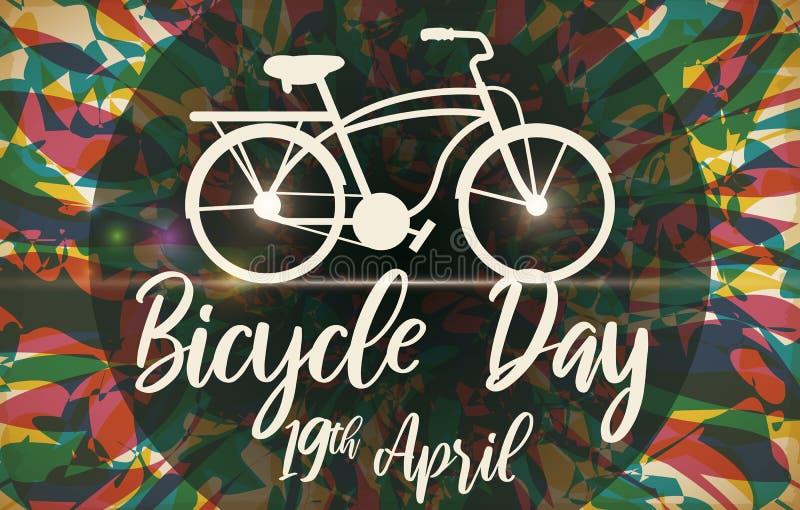 Bicicleta sobre o fundo psicadélico para comemorar o dia da bicicleta, ilustração do vetor ilustração royalty free