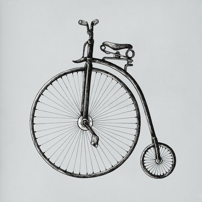 Bicicleta tirada mão do farthing da moeda de um centavo ilustração do vetor