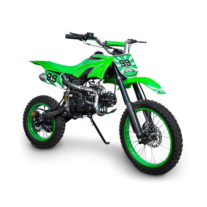 Bicicleta verde do motocross imagens de stock royalty free