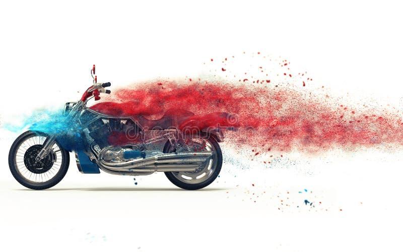 Bicicleta vermelha - dispersão da partícula ilustração royalty free