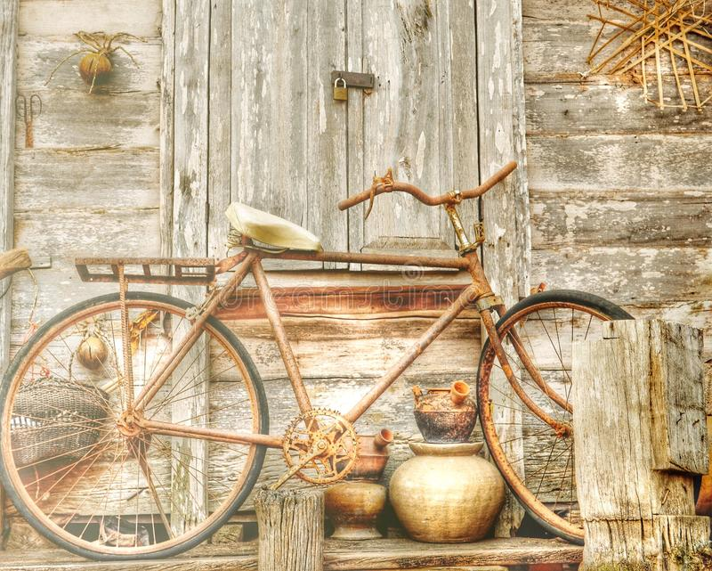Bicicleta vieja, bicicleta del vintage fotografía de archivo