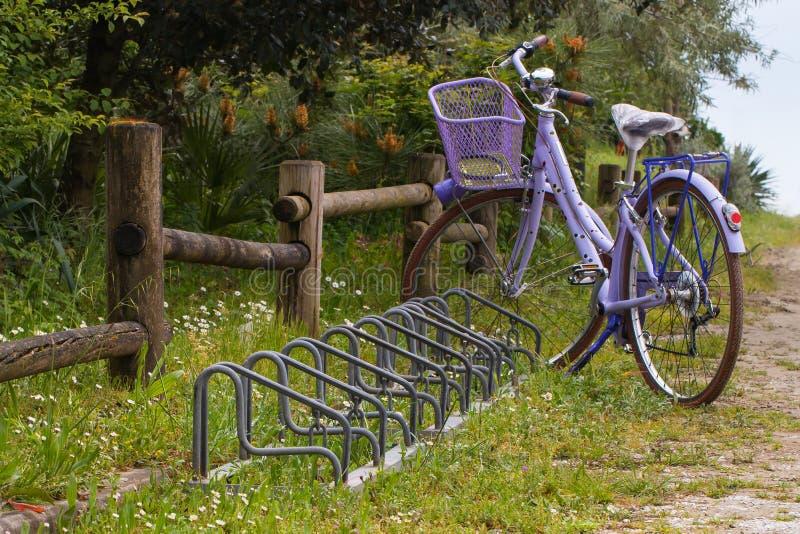 Bicicleta violeta com as cremalheiras da cesta e de bicicleta perto da cerca de madeira imagem de stock royalty free