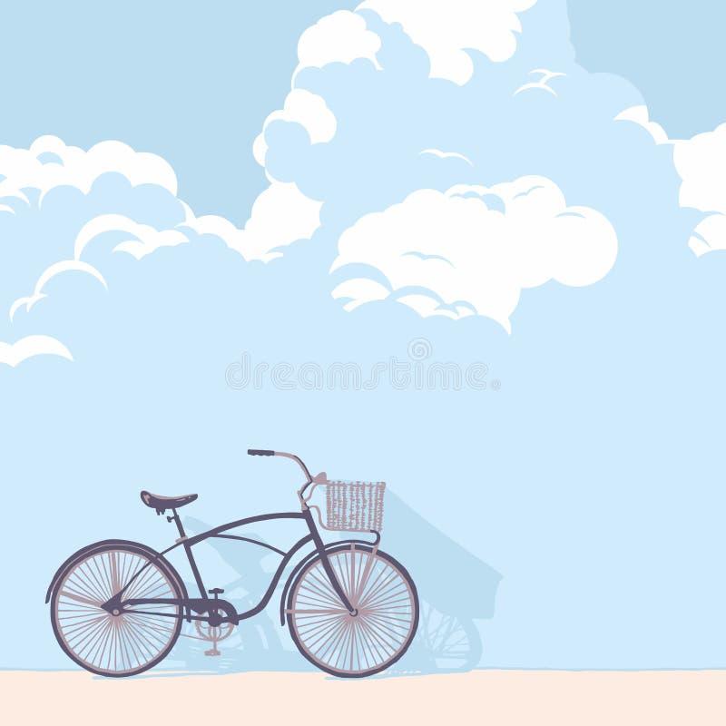 Bicicleta y nubes exhaustas stock de ilustración