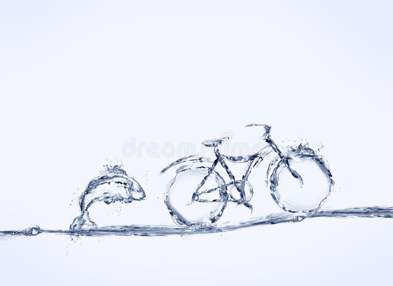 Bicicleta y pescados del agua azul imagenes de archivo