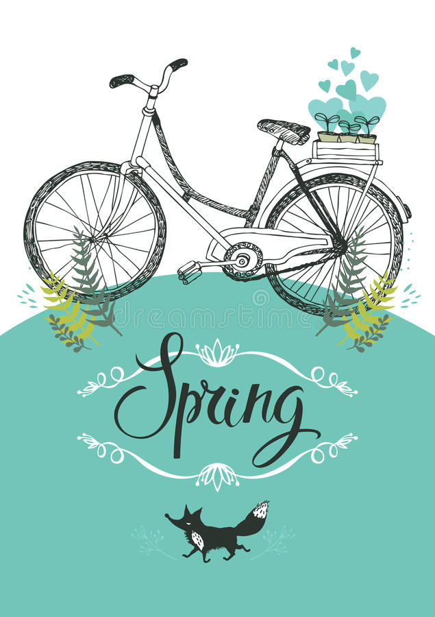 Bicicleta y zorro del vintage. Ilustración y caligrafía ilustración del vector