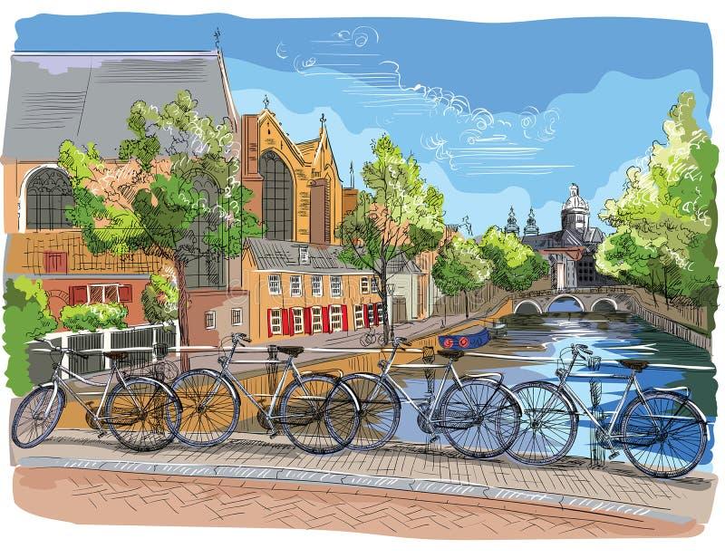 Bicicletas coloridas en el puente sobre los canales de Amsterdam, inferiores ilustración del vector