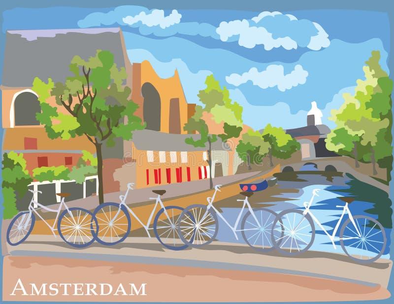 Bicicletas coloridas en el puente sobre los canales de Amsterdam ilustración del vector
