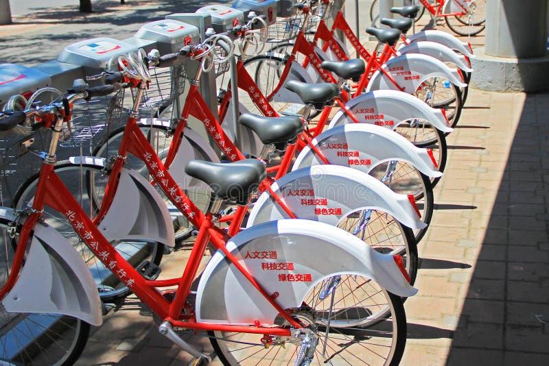 Bicicletas do público do Pequim imagens de stock royalty free