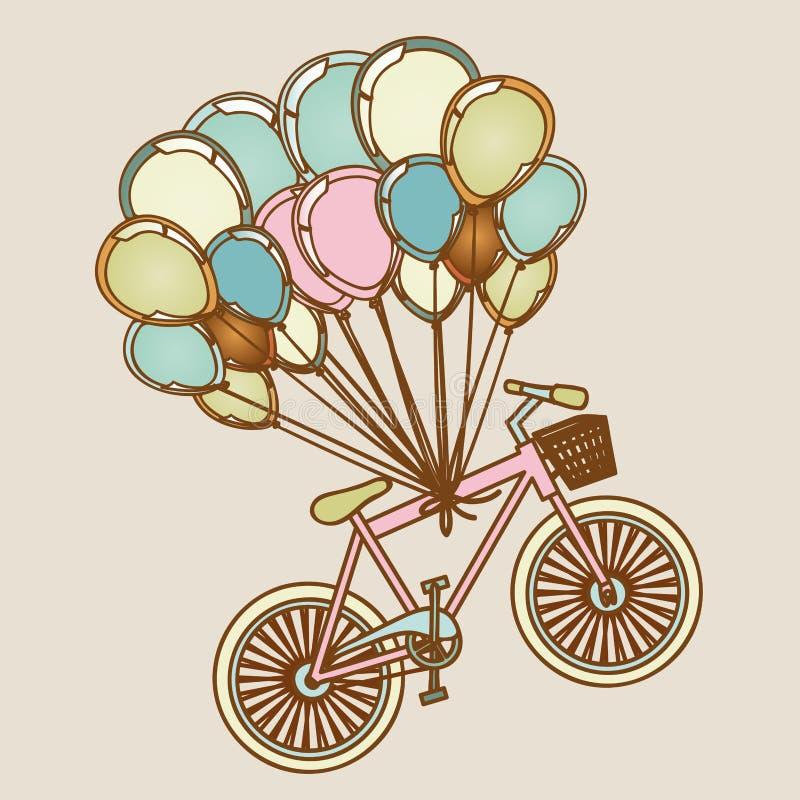 Bicicletas e balões ilustração royalty free