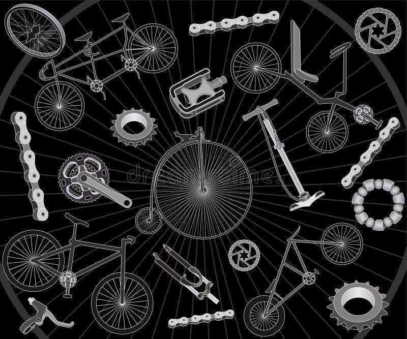 Bicicletas e sobressalentes ilustração stock
