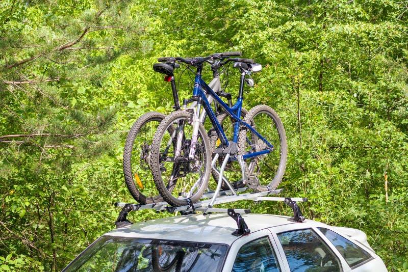 Bicicletas en el tronco del coche imagen de archivo libre de regalías