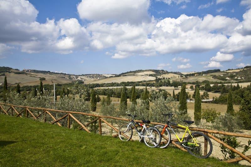 Bicicletas en las colinas toscanas fotos de archivo libres de regalías