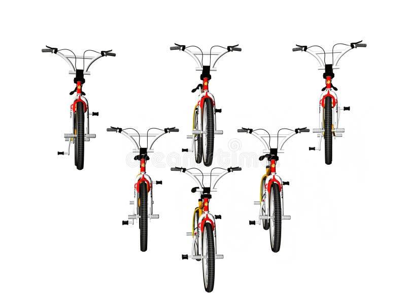 Bicicletas na formação ilustração royalty free