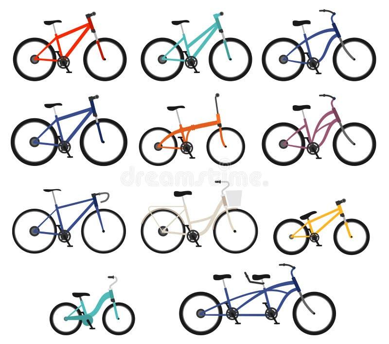 Bicicletas planas del estilo fijadas stock de ilustración