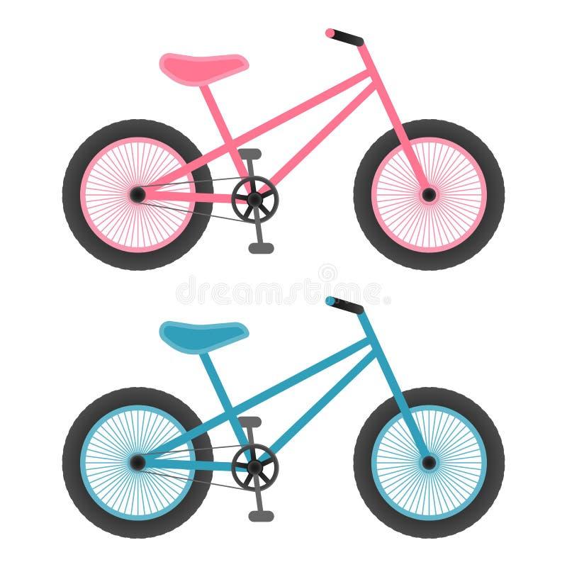 Bicicletas rosadas y azules para los niños aislados en un fondo blanco Ilustración del vector stock de ilustración