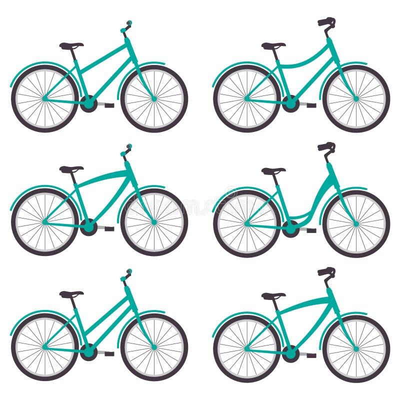 Bicicletas simples con los diversos marcos y manillares, sistema Ilustración del vector libre illustration