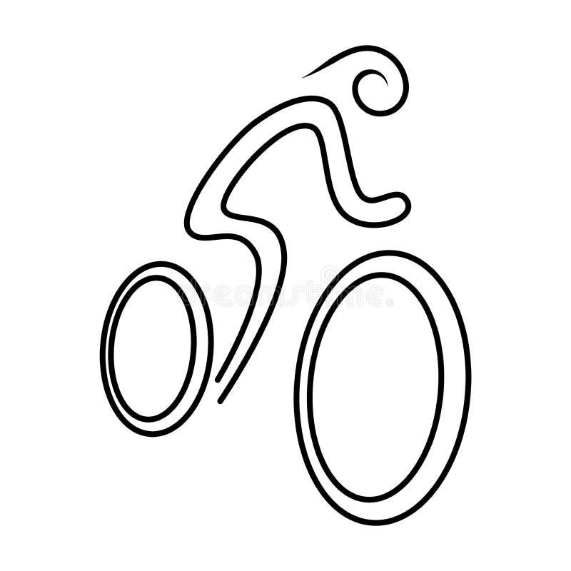 Bicicletta con l'icona semplice di schizzo del ciclista Vettore royalty illustrazione gratis