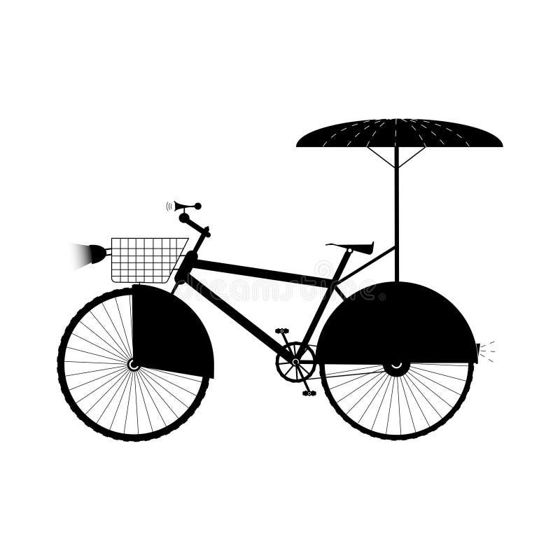 Bicicletta con l'ombrello, il canestro, la luce e la protezione sulla ruota - illustrazione di vettore royalty illustrazione gratis