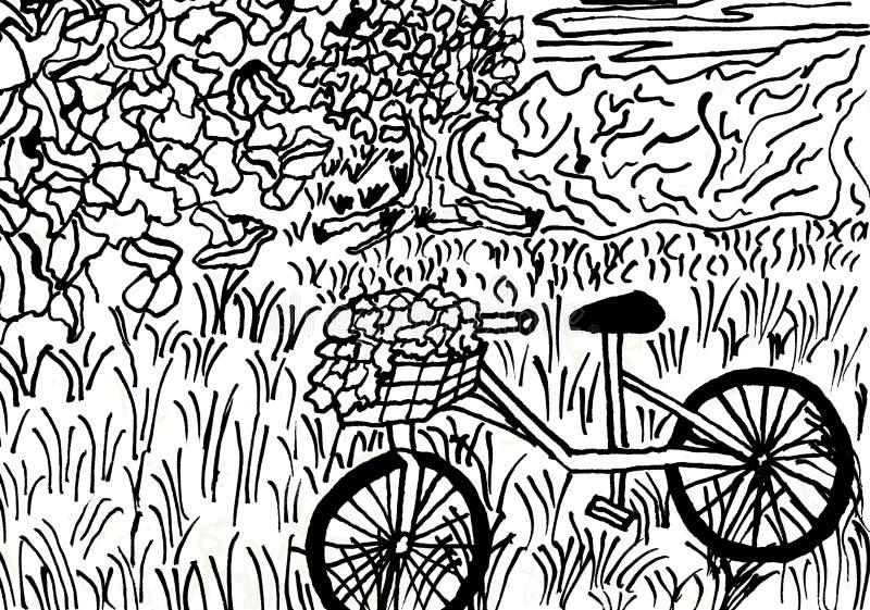 Bicicletta con un canestro del fiore in un paesaggio pacifico illustrazione di stock