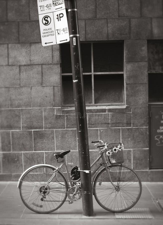 Bicicletta concatenata al palo immagini stock