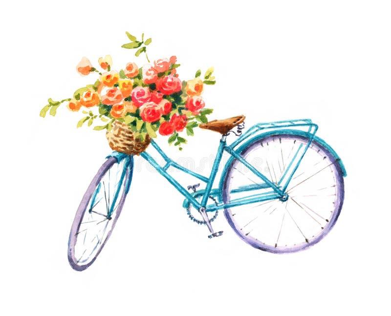 Bicicletta d'annata blu con un'illustrazione del giardino di estate dell'acquerello del canestro del fiore dipinta a mano illustrazione vettoriale