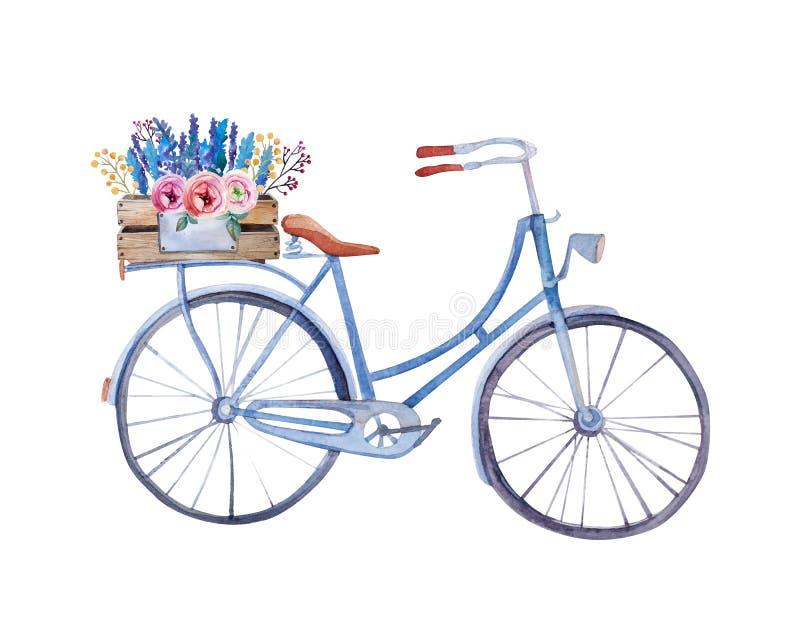 Bicicletta d'annata dell'acquerello con la scatola di fiori illustrazione di stock