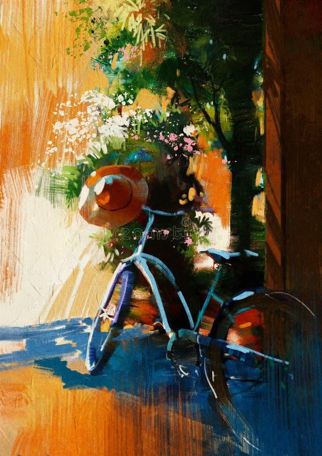 Bicicletta d'annata e vecchio cappello il giorno di estate illustrazione vettoriale
