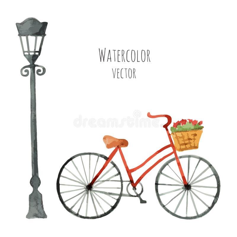 Bicicletta dell'acquerello con il canestro e la lanterna illustrazione di stock