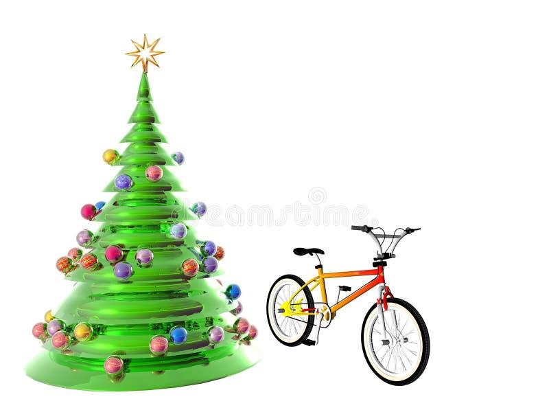 Bicicletta dell'albero di Natale illustrazione vettoriale