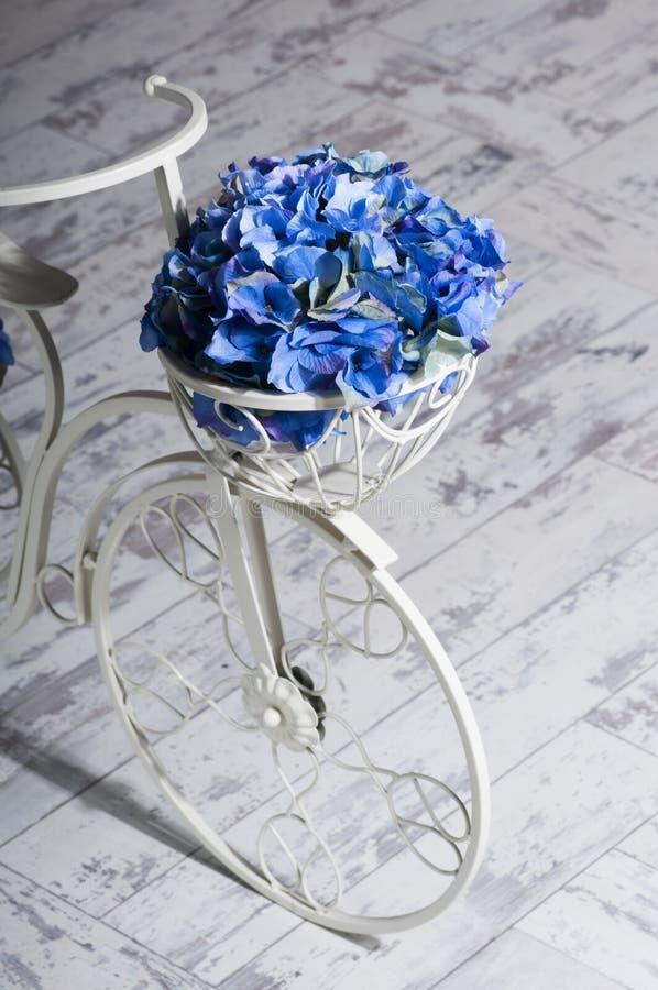 Bicicletta di bianco di giardino con un canestro dell'ortensia del blu dei fiori fotografie stock