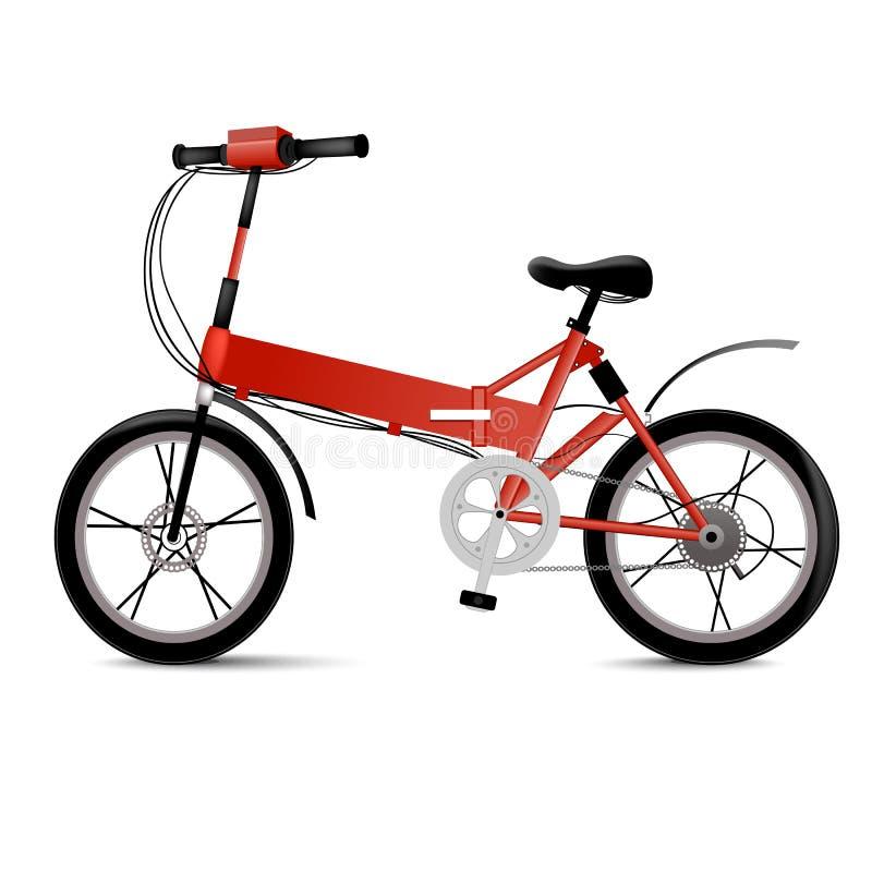Bicicletta elettrica realistica isolata su bianco Il eco moderno due spinge il veicolo per lo sport o il giro urbano della città  illustrazione vettoriale