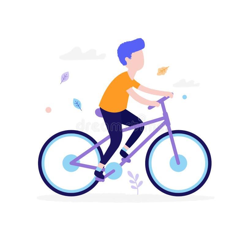 Bicicletta felice di guida del ragazzo all'aperto nel parco isolato su fondo bianco Concetto di attività dei bambini, estate pian illustrazione vettoriale