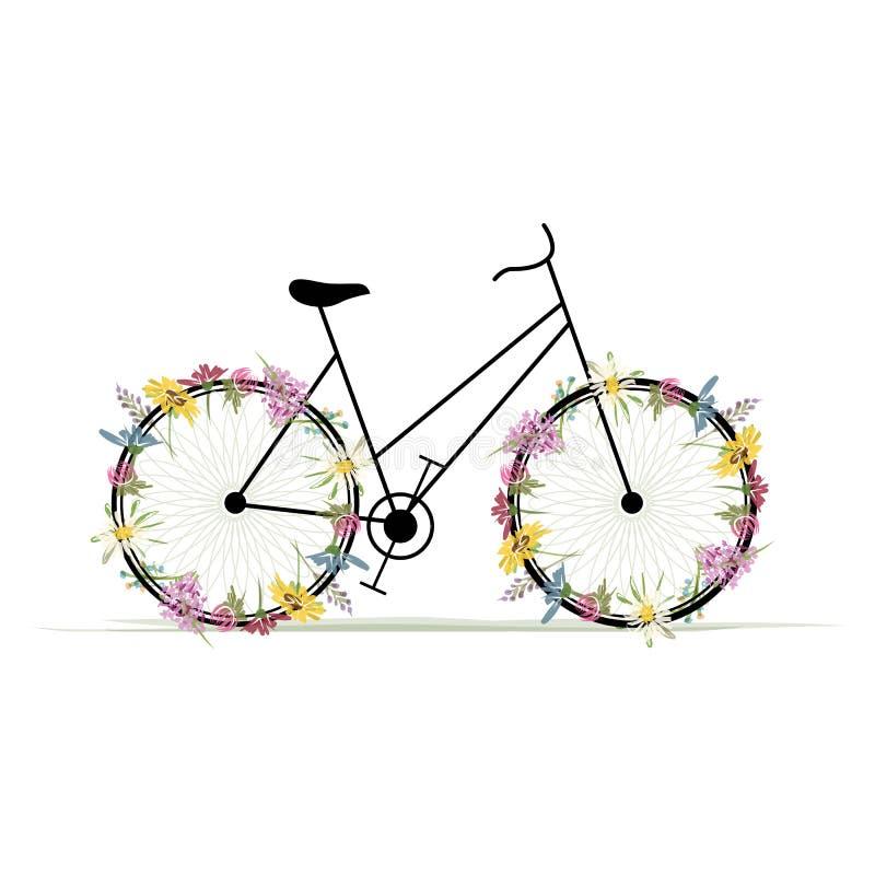 Bicicletta floreale per la vostra progettazione illustrazione vettoriale