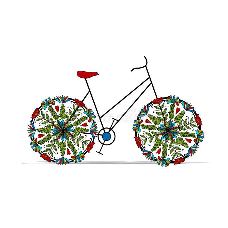 Bicicletta floreale per la vostra progettazione illustrazione di stock