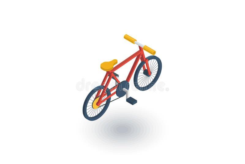Bicicletta, icona piana isometrica della bici vettore 3d illustrazione di stock