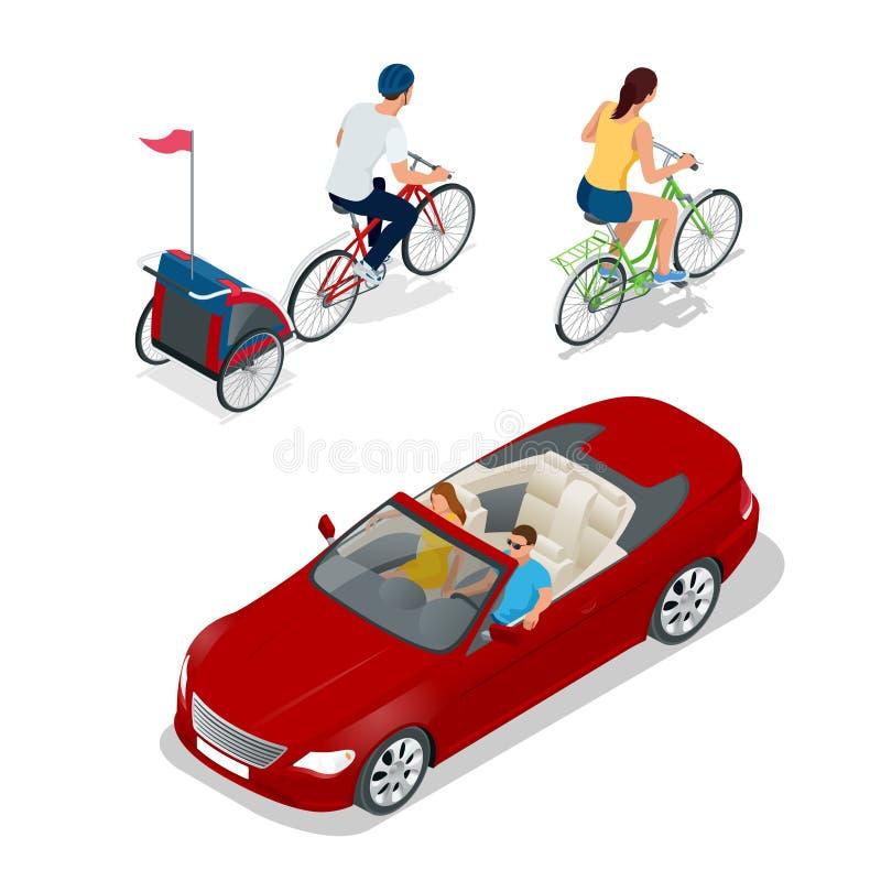 Bicicletta isometrica con il rimorchio della bici dei bambini Automobile del cabriolet Trasporto per il viaggio di estate illustrazione di stock