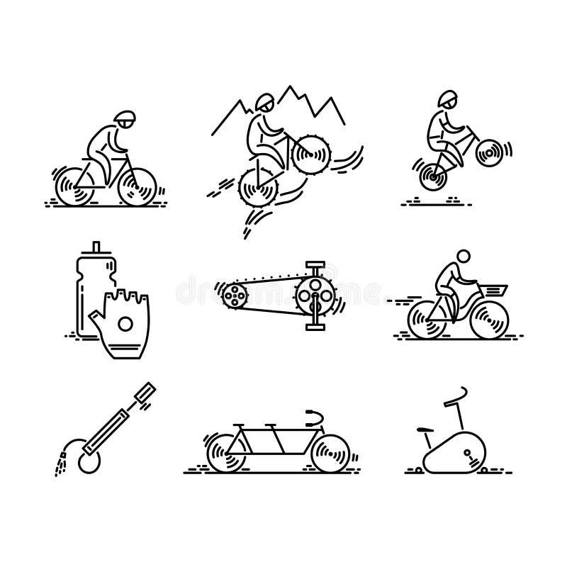 Bicicletta La bici scrive il vettore dell'icona Insieme di riciclaggio Linea sottile icone illustrazione vettoriale
