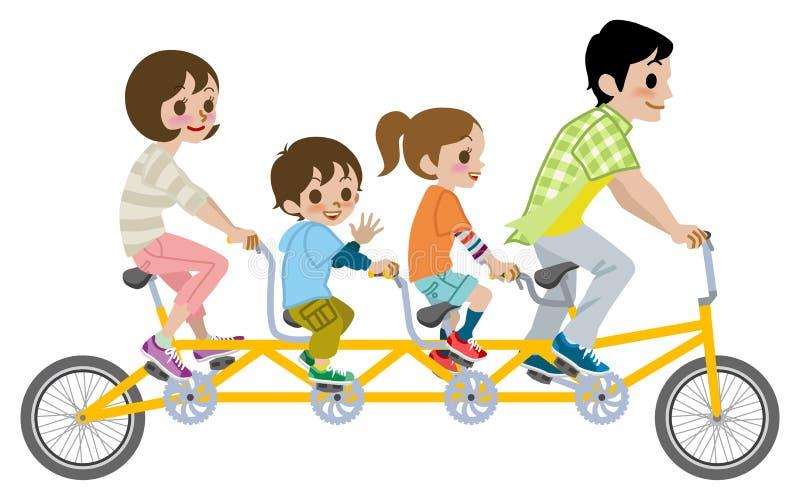 Bicicletta in tandem di guida della famiglia, isolata immagine stock libera da diritti