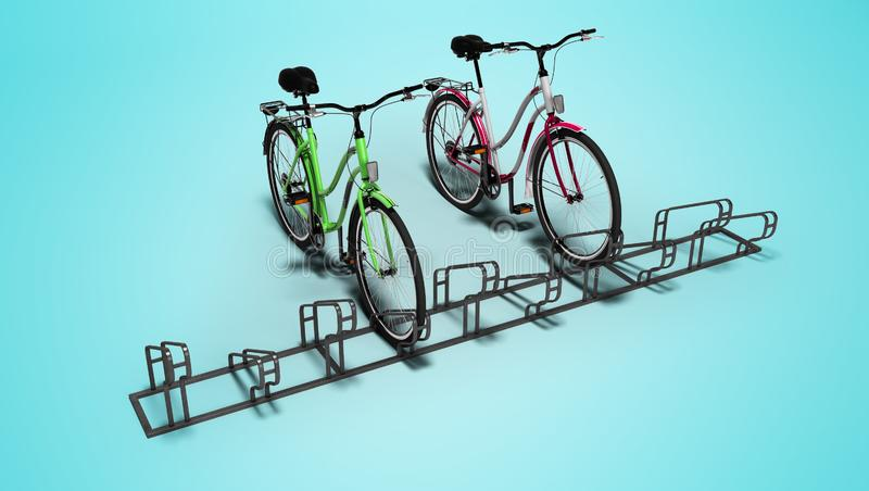 Biciclette con il lotto della bicicletta della fermata locale 3D rendere su fondo blu con ombra royalty illustrazione gratis