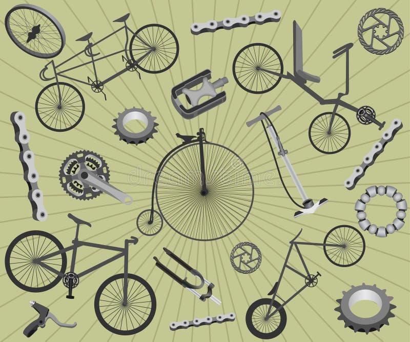 Biciclette e parti di recambio royalty illustrazione gratis