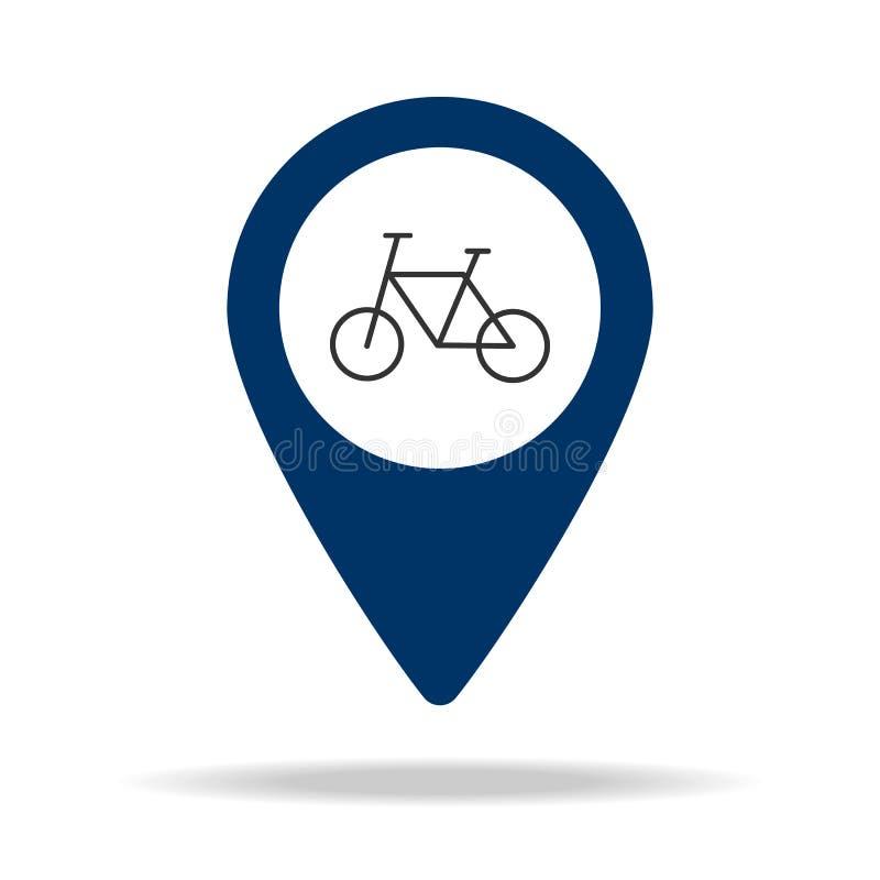 biciclette nell'icona blu del perno della mappa Elemento del punto della mappa per i apps mobili di web e di concetto Icona per p royalty illustrazione gratis