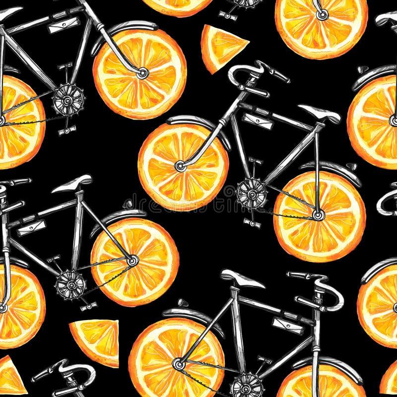 Biciclette senza cuciture del modello dell'acquerello con le ruote arancio Priorità bassa variopinta di estate illustrazione vettoriale