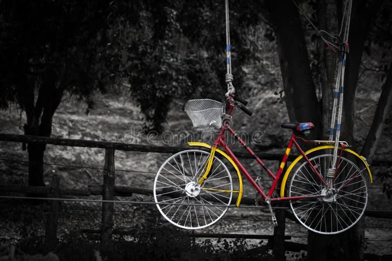 Biciclette sul retro rosso giallo d'annata delle corde immagini stock