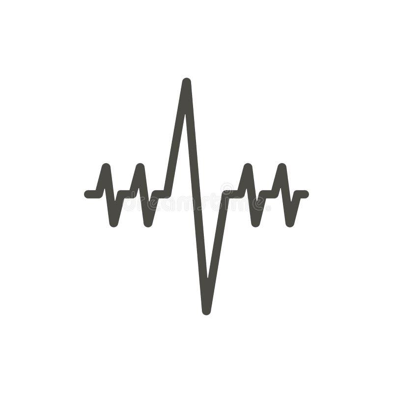 Bicie serca ikony wektor Kreskowy cardio kierowy diagnoza symbol ilustracji