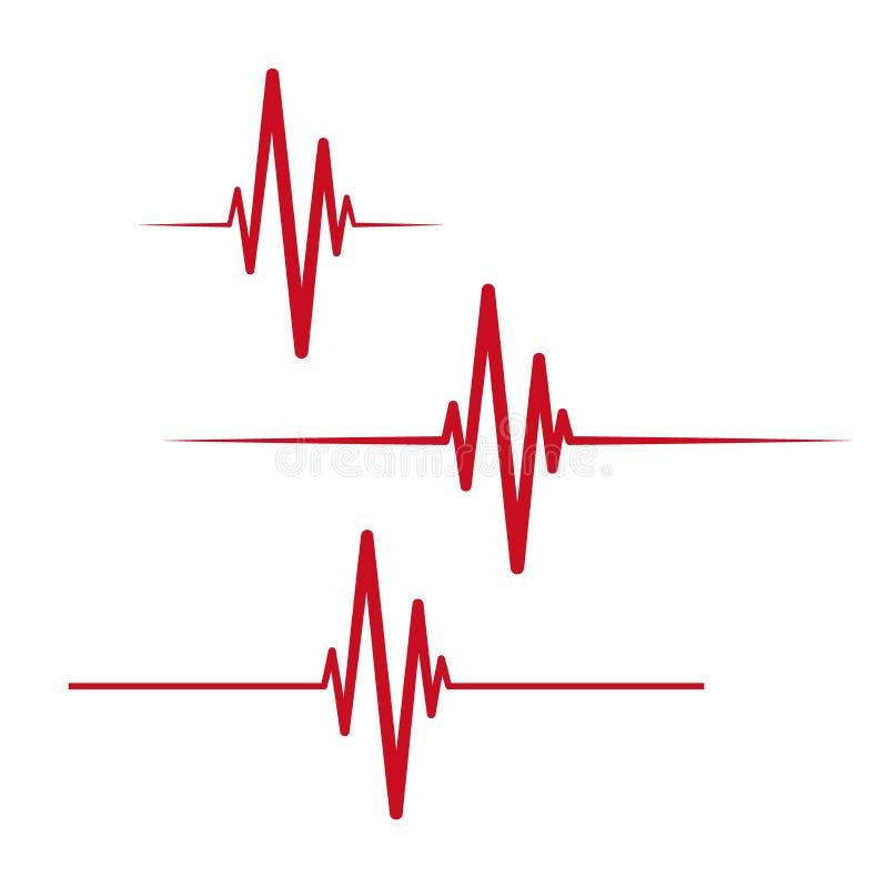 Bicie serca kardiograma prosta ikona Kierowego rytmu ecg medyczny symbol ilustracji