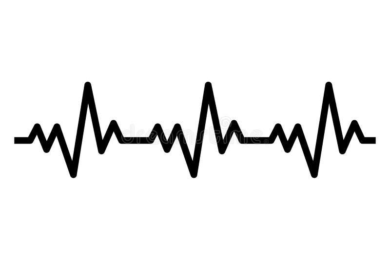 Bicie serca kreskowa ikona Kierowy rhytm ECG kardiogram ilustracja wektor