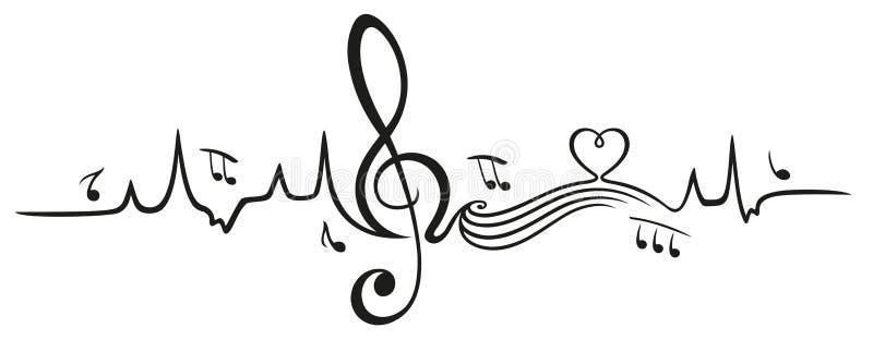 Bicie serca, miłość dla muzyki ilustracja wektor