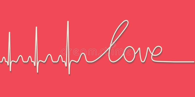 Bicie serca pulsu tekst słowo miłość, ręka rysująca kaligraficzna linia, wektorowy miłości pojęcie dla walentynki ilustracji