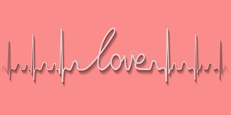Bicie serca pulsu tekst słowo miłość, rysuje kreskową rękę royalty ilustracja