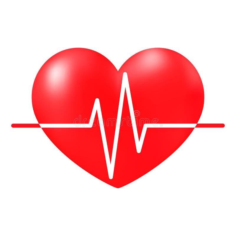 Bicie serca znak, medyczny kardiogram ilustracja wektor